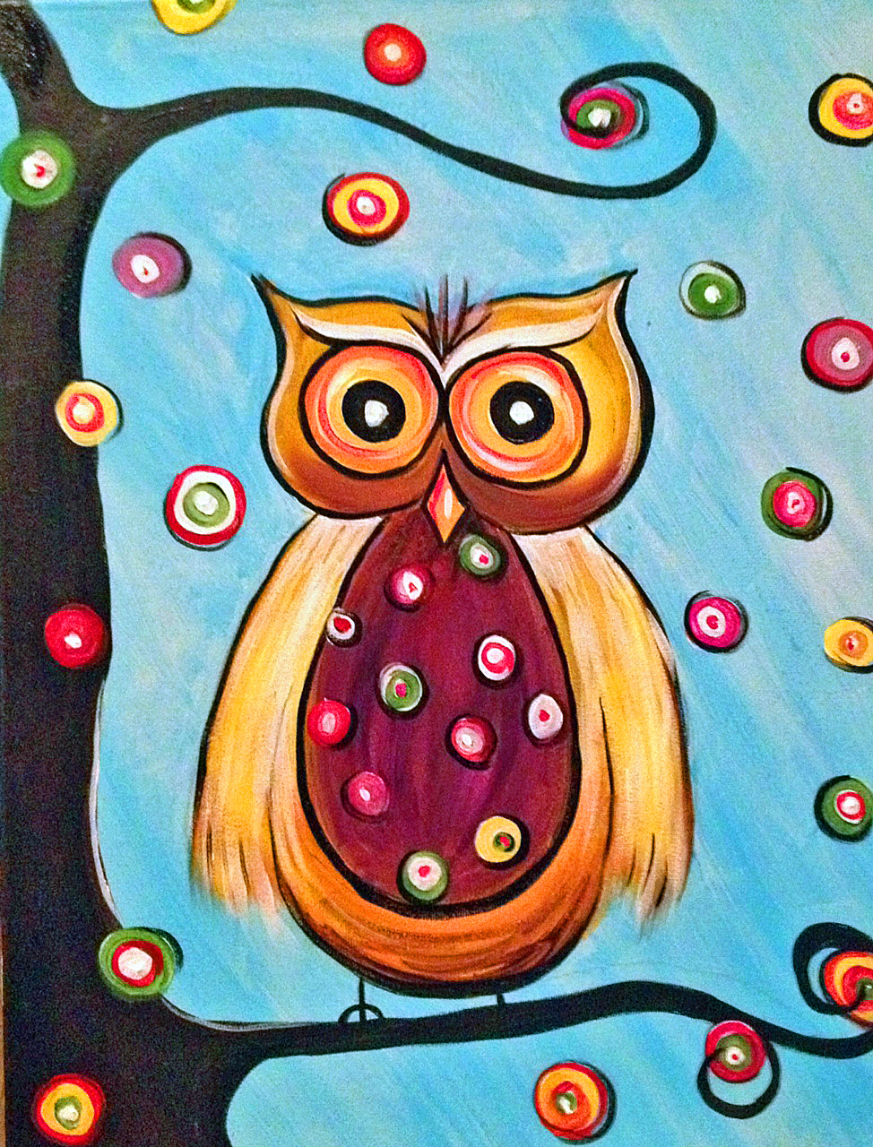 Owl painting abstract for Cute abstract art